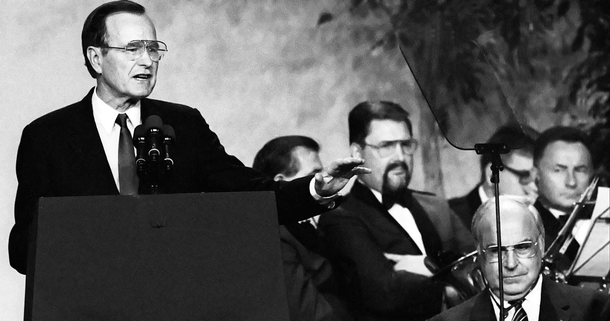 George Herbert Walker Bush und Helmut Kohl