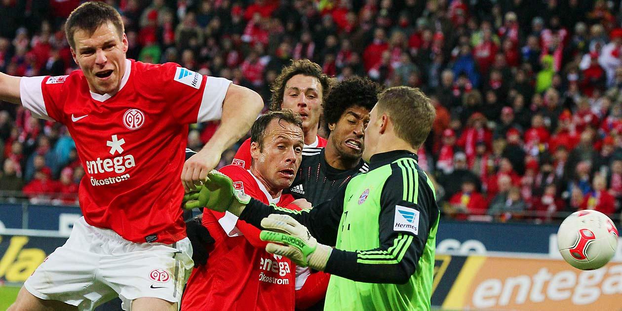 Fussball Bundesliga, FSV Mainz 05 - Bayern München, Zabavnik, Noveski, Baumgartlinger ,Dante, Neuer