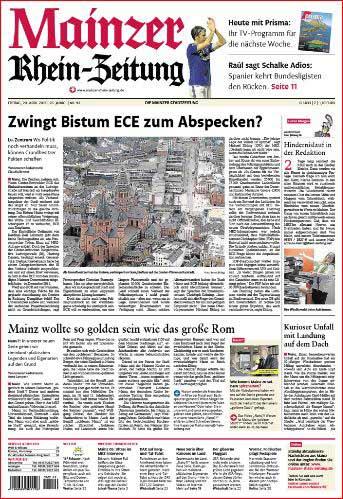 Luftbild  von Mainz mit Dom und Ludwigstrasse, Rheinzeitung ,Foto: Bernd Eßling , Bildjournalist, Fotograf, Mainz