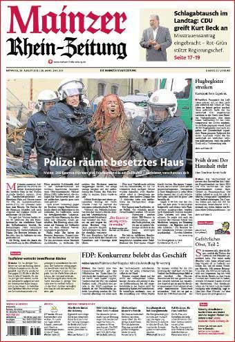 Mainz, Hausbesetzer, Polizei räumt besetztes Haus, Rheinzeitung ,Foto: Bernd Eßling , Bildjournalist, Fotograf, Mainz