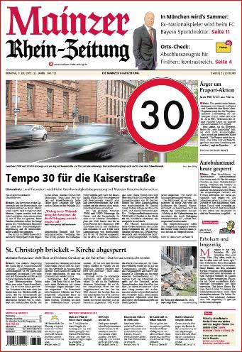 Mainz, Kaiserstrasse, Tempo 30 , Rhein-Zeitung ,Foto: Bernd Eßling, Bildjournalist, Fotograf, Mainz