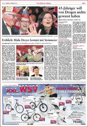 Fastnachtssendung, Mainz, wie es singt und lacht, Malu Dreyer, Frank-Walter Steinmeier, Thorsten Schäfer-Gümbel, Rheinzeitung, Fotos: Bernd Eßling, Bildjournalist, Fotograf