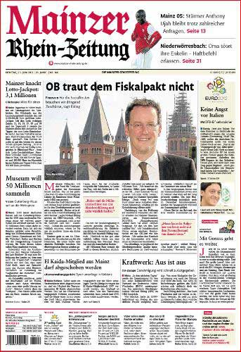 Oberbürgermeister Michael Ebling, Rhein-Zeitung ,Foto: Bernd Eßling, Bildjournalist, Fotograf, Mainz