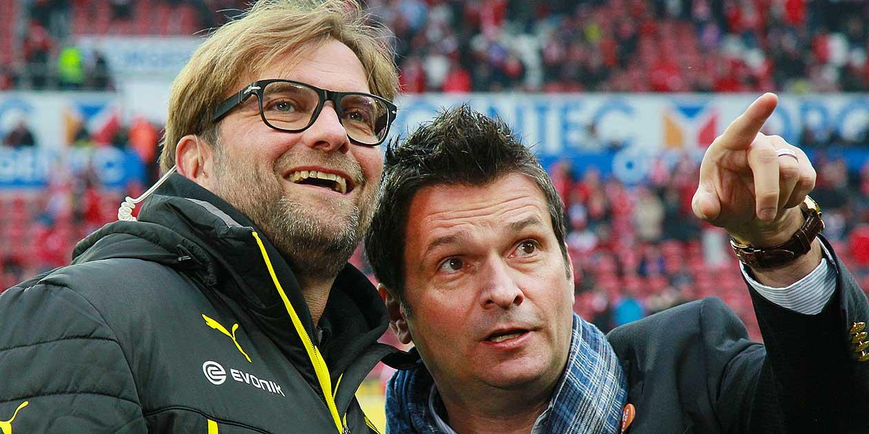 Fussball Bundesliga, FSV Mainz 05 - Borussia Dortmund, Trainer Jürgen Kopp und Manager Christian Heidel, Foto: Bernd Eßling, Bildjournalist, Fotograf