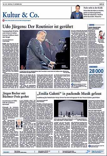 Udo Jürgens, Konzert in Mainz ,Rhein-Zeitung, Foto: Bernd Eßling, Bildjournalist, Fotograf, Mainz